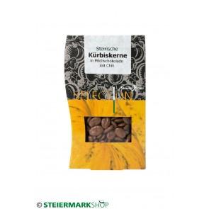 Kürbiskerne Milchschokolade Chili